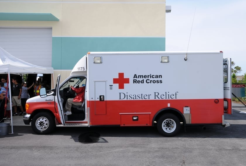 """""""Fort Lauderdale, USA - May 6, 2011: American Red Cross hurricane relief truck meeting the public before the start of the 2011 hurricane season. Various organization attend public events to create awareness of the forthcoming hurricane season"""""""